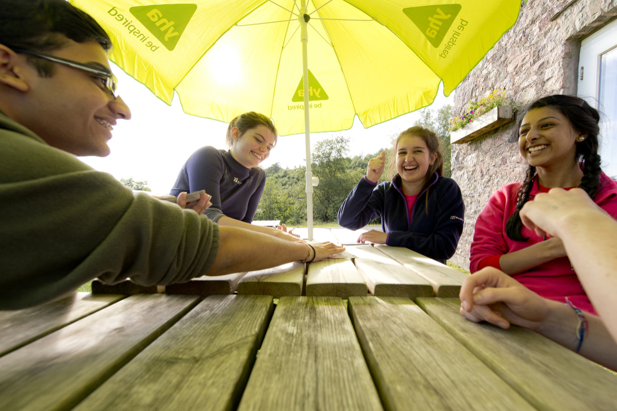 Group sitting round a picnic table
